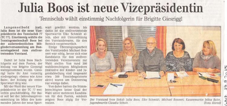 Pressebericht (GNZ): Julia Boos ist neue Vizepräsidentin